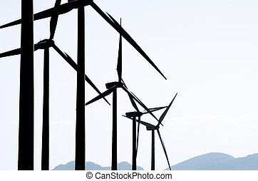 wind energy - group of wind turbines for renewable electric ...