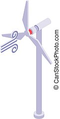 Wind energy icon, isometric style