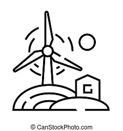 Wind energy line icon, concept sign, outline vector illustration, linear symbol.