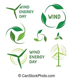 Wind energy logos set. Green logo collection.