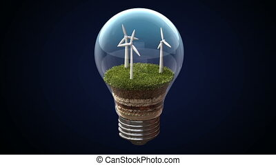 Wind energy makes an electric bulb