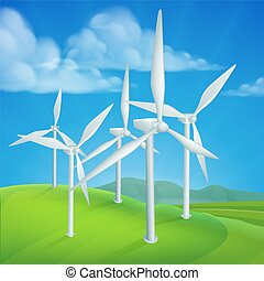 Wind Energy Power Turbines Generating Electricity