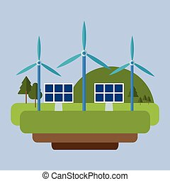 wind energy solar panel mountain background