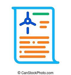 wind energy technicians document icon vector outline illustration
