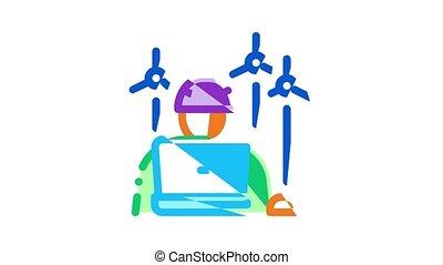 Wind Energy Technicians Icon Animation
