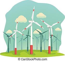 wind energy turbines on filed
