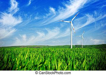 Wind energy turbines on the field