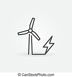 Wind Energy vector concept minimal icon in outline style
