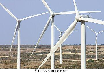 wind energy - windfarm fied with blue sky