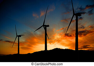 wind energy - Windmills and sunset