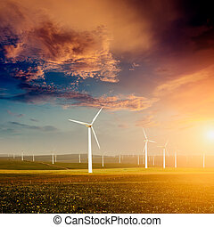 Wind farm - Eco power, wind turbines