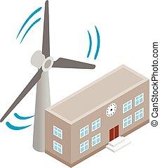 Wind farm icon, isometric style