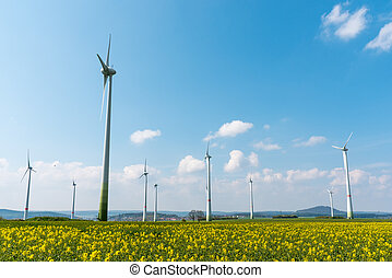 Wind farm in a blooming rapeseed field