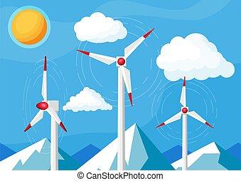 Wind Farm In Fields Among Mountains.