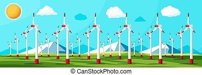 Wind Farm In Green Fields Among Mountains.
