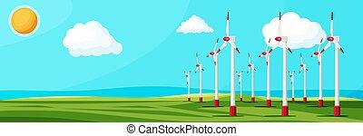 Wind farm in green fields among trees.