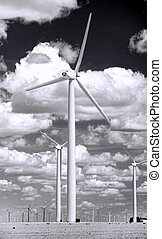 Wind farm at West Texas in black and white.