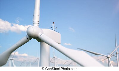 Wind farm turbines caught in blue sky. Beautiful contrast with the sky. ecological concept. 3d rendering