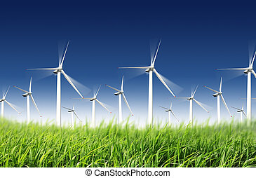 Wind farm: wind turbines in the grassland with blue sky in ...