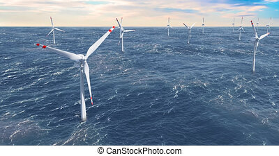 Wind farm, wind turbines in the sea, animation. 3D rendering