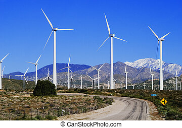 Wind Farm - Windmill electricity farm near Palm Springs, CA;...