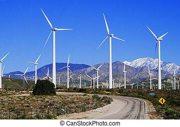 Wind Farm - Windmill electricity farm near Palm Springs, CA;...