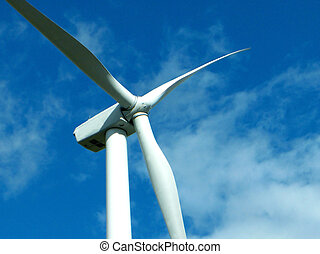 Wind Farm - Zoomed detail of turbine blades on a power...