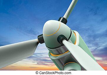 wind generator against a beautiful sky - wind generator a...