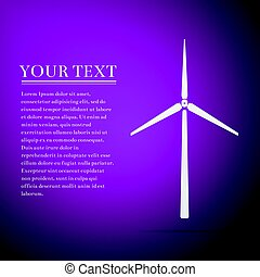 Wind generator flat icon on purple background. Vector Illustration