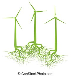 Wind generator forest concept with roots vector background
