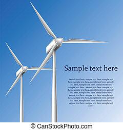 Wind generator frame on blue background