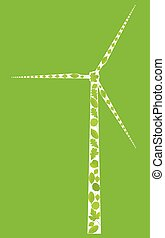Wind generator made with leaves vector ecology background