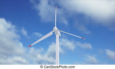 Wind generator on a background of a cloudy sky - Beautiful...