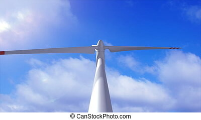 Wind generator on a background of a sky and plane