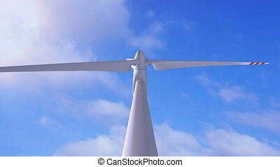 Wind generator on a background of a sunny sky - Beautiful 3d...
