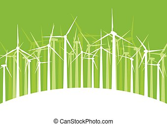 Wind generator turbine clean energy concept vector background