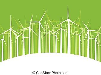 Wind generator turbine clean energy concept vector background