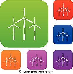 Wind generator turbines set color collection