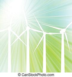 Wind generator vector background with light sun burst