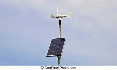 Wind generator with solar panel