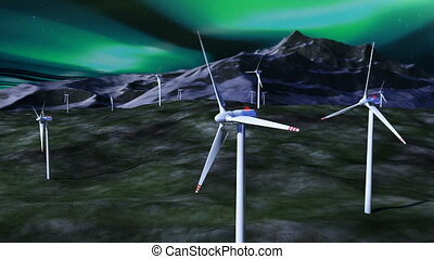 Wind generators against night sky with borealis