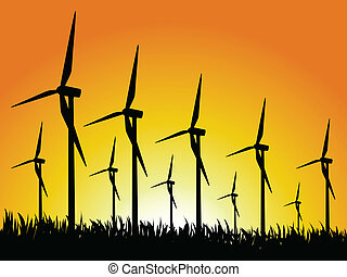 wind generators and sunset