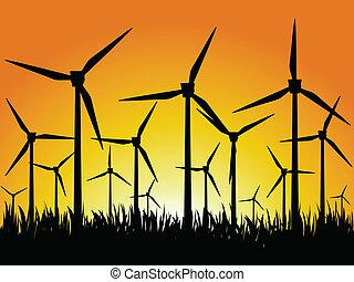 wind generators and sunset