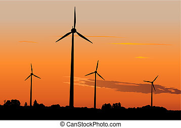 Wind generators at sunrise - Four windturbines against ...