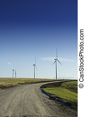 Wind generators at the end of a dirt road - Alternate energy...