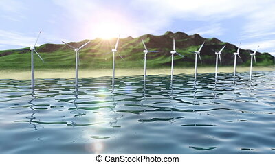 Wind generators farm in ocean near an island loop