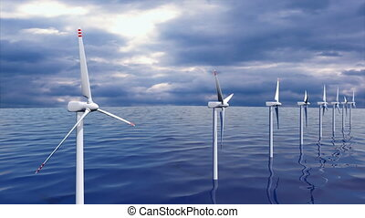 Wind generators farm in ocean seamless loop