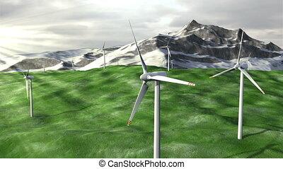 Wind generators farm on field against a mountains -...