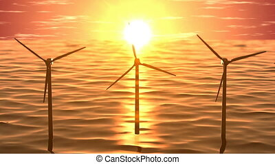 Wind generators in ocean on sunset seamless loop