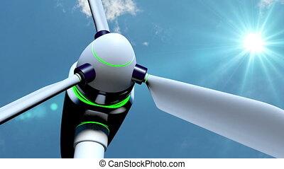 Wind generators in the field, time laps, video loop
